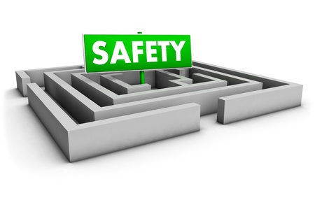 Safety concept with labyrinth and green goal sign on white background. photo