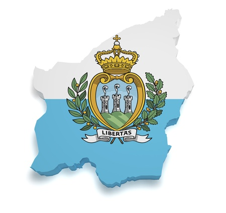 Shape 3d of Republic of San Marino flag and map isolated on white background. Stock Photo