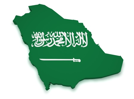 arab flags: Shape 3d of Saudi Arabia flag and map isolated on white background. Stock Photo