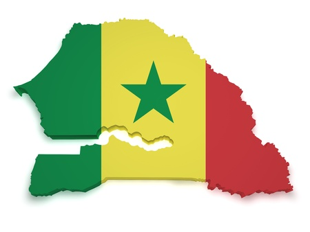 Shape 3d of Senegal flag and map isolated on white background.