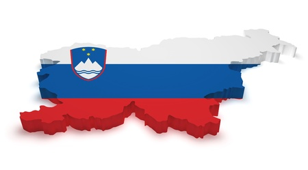 Shape 3d of Slovenia map with flag isolated on white background. photo