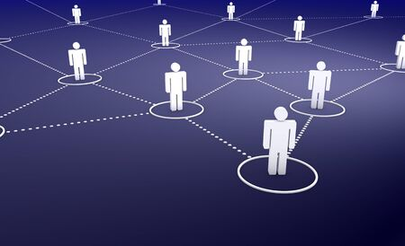 Social Network concept with a group of connected 3d men by dotted lines on dark blue background. Stock Photo - 14841374