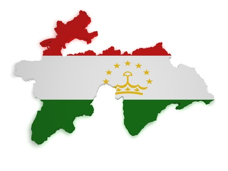 tajikistan: Shape 3d of Tajikistan flag and map isolated on white background. Stock Photo