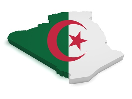 Shape 3d of Algerian map with flag isolated on white background  Stock Photo - 15276416