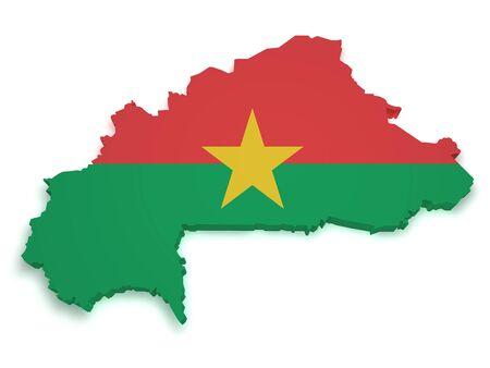 burkina faso: Shape 3d of Burkina Faso flag and map isolated on white background  Stock Photo