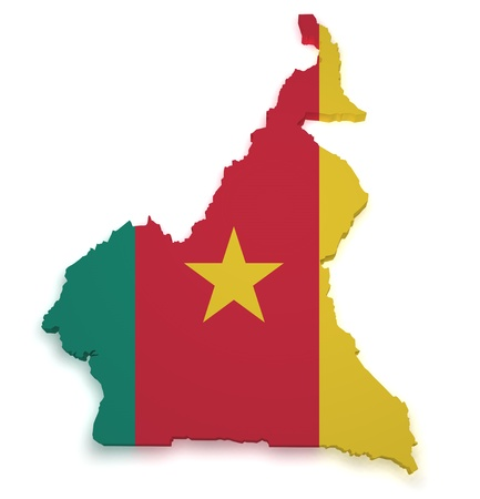 Shape 3d of Cameroon flag and map isolated on white background  photo