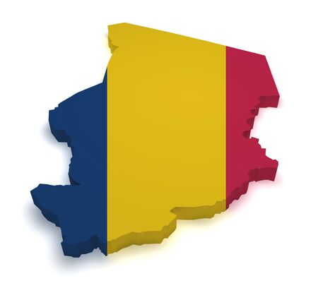 chadian: Shape 3d of Chad map with flag isolated on white background