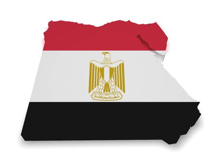 egypt flag: Shape 3d of Egyptian map with flag isolated on white background