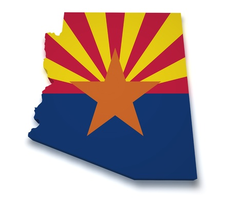 state of arizona: Shape 3d of Arizona map with flag isolated on white background