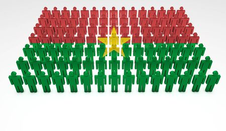 burkina faso: Parade of 3d people forming a top view of Burkina Faso flag  With copyspace  Stock Photo