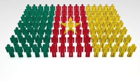 cameroonian: Parade of 3d people forming a top view of Cameroon flag  With copyspace  Stock Photo