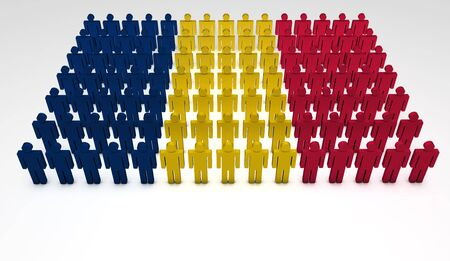 chadian: Parade of 3d people forming a top view of Chad flag  With copyspace