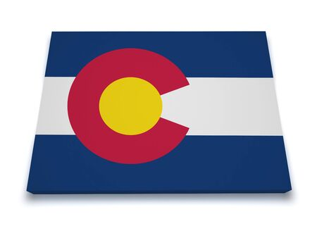 colorado state: Shape 3d of Colorado map with flag isolated on white background