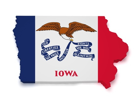 iowa: Shape 3d of Iowa flag and map isolated on white background