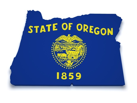 state of oregon: Shape 3d of Oregon map with flag isolated on white background