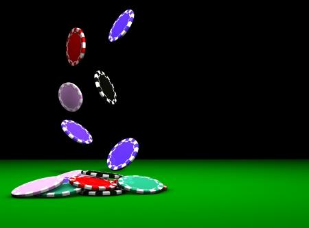fichas casino: Apuestas Poker chips concepto que cae sobre un fondo verde Gran mesa para revistas, banners, páginas Web, volantes, etc Foto de archivo