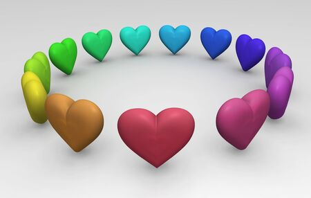 Friendship concept background with coloured hearts in a circle playing ring a ring o Stock Photo - 15277857