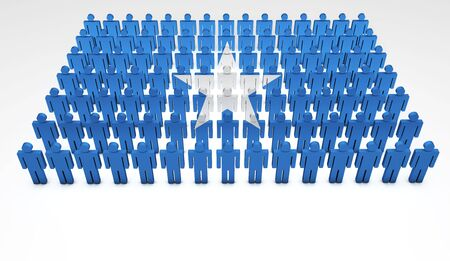 somalian: Parade of 3d people forming a top view of Somalian flag  With copyspace  Stock Photo