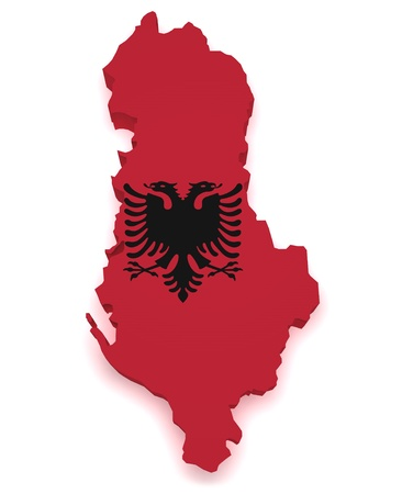 albanian: Shape 3d of Albania map with flag isolated on white background  Stock Photo