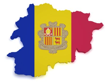 relief maps: Shape 3d of Andorra map with flag isolated on white background  Stock Photo