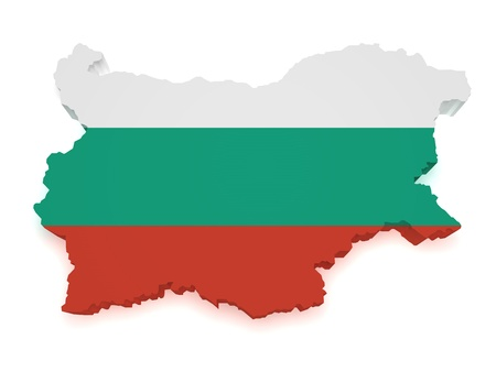 bulgarian: Shape 3d of Bulgaria map with flag isolated on white background