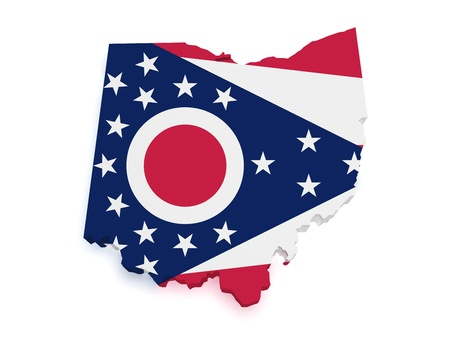 ohio: Shape 3d of Ohio map with flag isolated on white background  Stock Photo