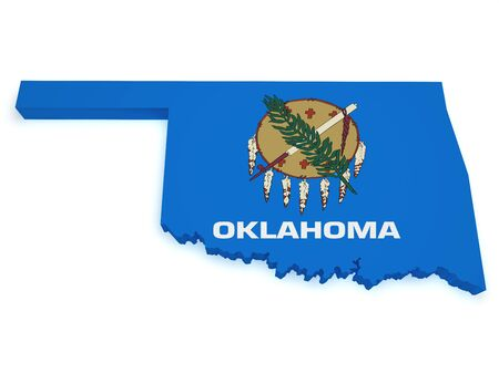 Shape 3d of Oklahoma map with flag isolated on white background  photo