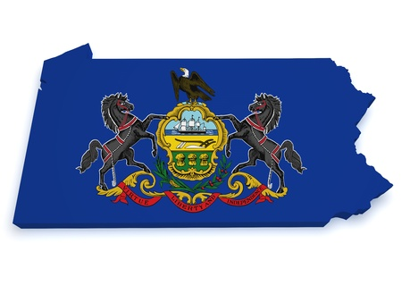 Shape 3d of Pennsylvania map with flag isolated on white background  photo