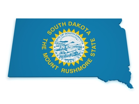 Shape 3d of South Dakota map with flag isolated on white background  photo