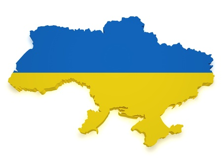 ukrainian: Shape 3d of Ukraine map with flag isolated on white background