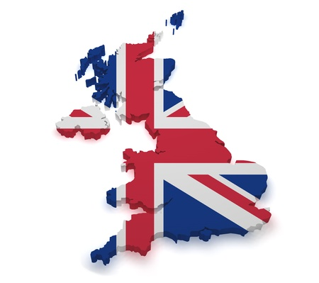 Shape 3d of United Kingdom map with flag isolated on white background  photo