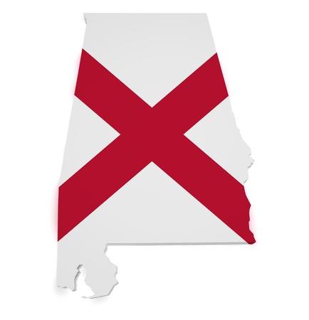 alabama flag: Shape 3d of Alabama map with flag isolated on white background
