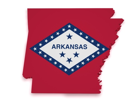 Shape 3d of Arkansas map with flag isolated on white background  Stock Photo - 15467672
