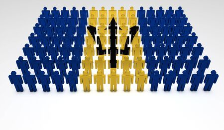 Parade of 3d people forming a top view of Barbados flag. With copyspace. Stock Photo - 15467675
