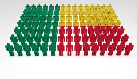 state election: Parade of 3d people forming a top view of Benin flag. With copyspace. Stock Photo
