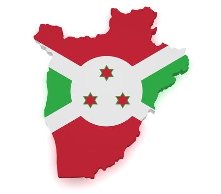 burundi: Shape 3d of Burundi map with flag isolated on white background.