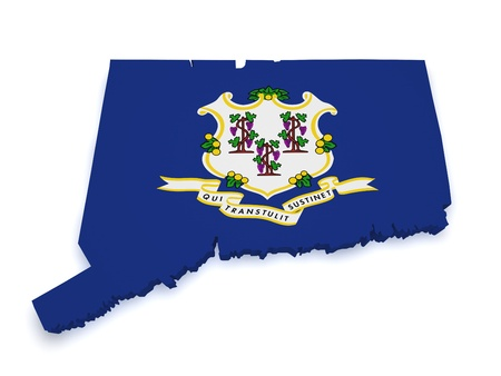 Shape 3d of Connecticut map with flag isolated on white background. Stock Photo