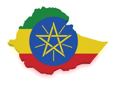 ethiopia: Shape 3d of Ethiopia map with flag isolated on white background.