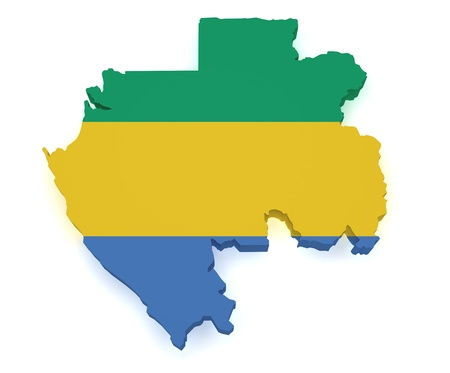 gabon: Shape 3d of Gabon map with flag isolated on white background.