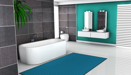 Bathroom interior with modern and contemporary design and white floor, 3d rendering. photo