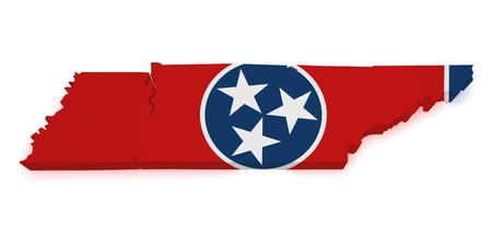 tennesse: 3d Forma de Tennessee mapa con bandera aislado sobre fondo blanco.