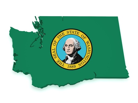 state government: Shape 3d of Washington map with flag isolated on white background.