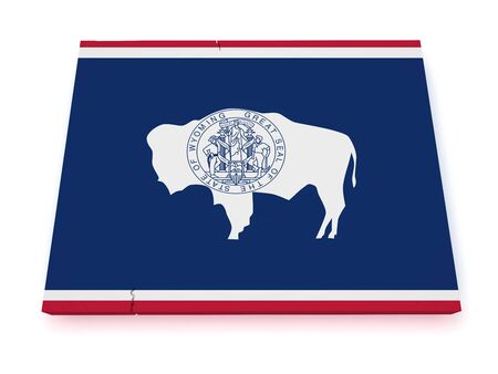 wyoming: Shape 3d of Wyoming map with flag isolated on white background.