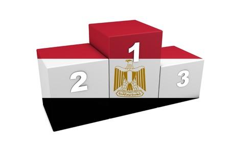 bandera de egipto: Egipto posiciones Podium 3d prestación por concepto mejor de Egipto aislado en blanco