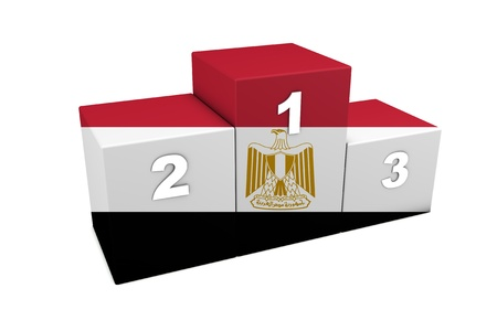egypt flag: Egyptian top positions 3d rendering  Podium for concept   the best of Egypt    Isolated on white  Stock Photo