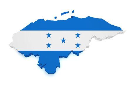 bandera honduras: 3d Forma de Honduras Mapa de la bandera aislado sobre fondo blanco Foto de archivo