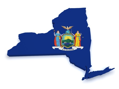 state government: Shape 3d of State of New York map with flag isolated on white background  Stock Photo