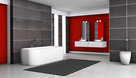 Bathroom interior red and black with modern fixtures and contemporary design with black granite tiles and white floor, 3d rendering