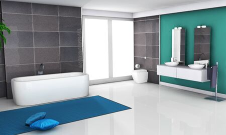 Home interior of a bathroom with modern and contemporary design and furniture 3d rendering  photo