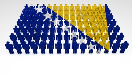 bosnia: Parade of 3d people forming a top view of Bosnia And Herzegovina flag  With copyspace